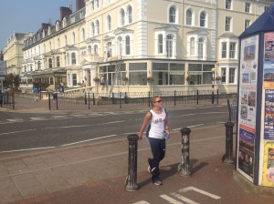 Michele crossing the street from our posh hotel